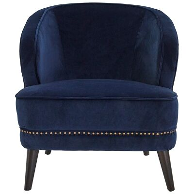Hallie Velvet Fabric Armchair, Navy