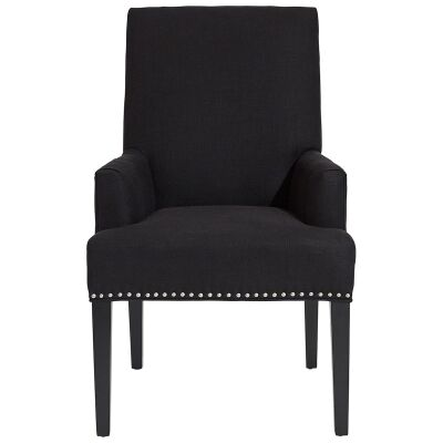 Bentley Fabric Dining Armchair, Black