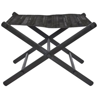 Leland Cow Hide & Stainless Steel Directors Stool, Black