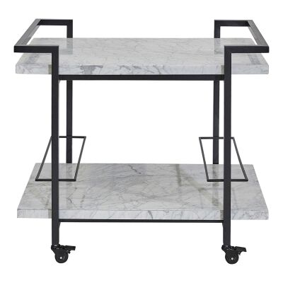 Franklin Marble & Stainless Steel Drinks Trolley, Black / White
