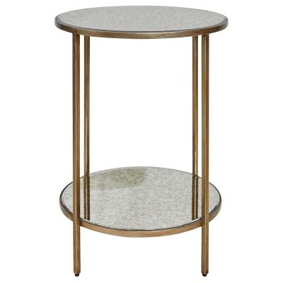 Cocktail Antique Mirror Top Iron Side Table, Large, Antique Gold