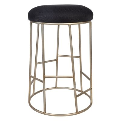 Aiden Iron Round Counter Stool with Fabric Seat, Black / Antique Gold