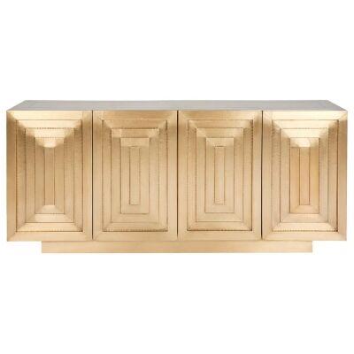 Guild Metal Clad 4 Door Buffet Table, 160cm, Brass