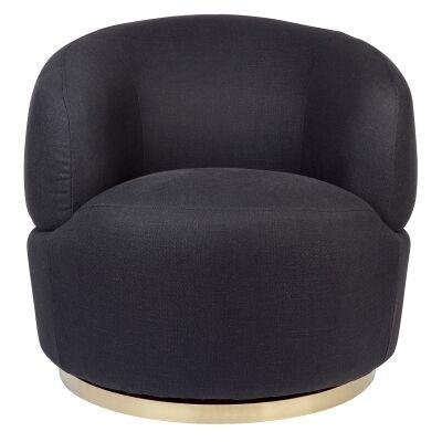Tubby Fabric Swivel Armchair, Black