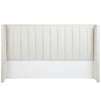 Central Park Fabric Winged Bed Headboard, King, Light Beige