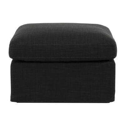 Birkshire Fabric Slip Cover Ottoman, Charcoal