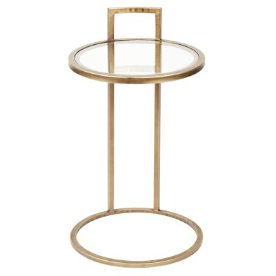 Maxie Iron Side Table, Antique Gold