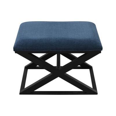 Spencer Chenille Fabric & Wood Cross Leg Footstool, Teal Blue / Black