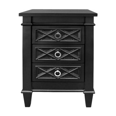 Plantation 3 Drawer Bedside Table, Small, Satin Black