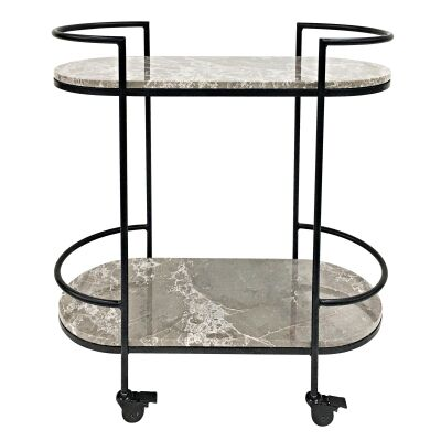 Southside Marble & Stainless Steel Drinks Trolley