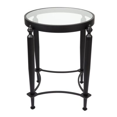 Jak Stainless Steel Round Side Table, Black