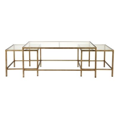 Cocktail 3 Piece Glass Top Iron Nested Coffee Table Set, Antique Gold
