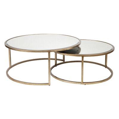 Serene 2 Piece Mirror & Iron Round Nesting Coffee Table Set, 95/80cm, Antique Gold