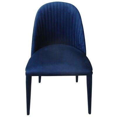 Dante Velvet Fabric Dining Chair, Navy