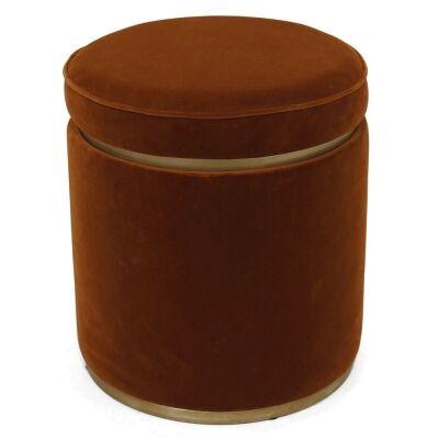 Totti Velvet Fabric Round Storage Ottoman Stool, Caramel