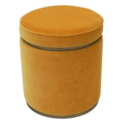 Totti Velvet Fabric Round Storage Ottoman Stool, Yellow