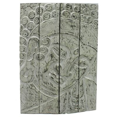 Hand Carved Wooden Buddha Profile Quadtych Wall Art, 60cm