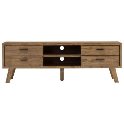 Reiki Acacia Timber 4 Drawer TV Unit, 174cm