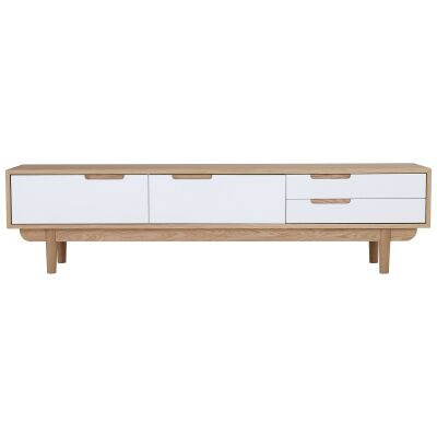 Nakula 2 Door 1 Drawer TV Unit, 180cm, Natural / White