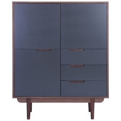 Nakula 2 Door 3 Drawer Cupboard, Walnut / Gunmetal