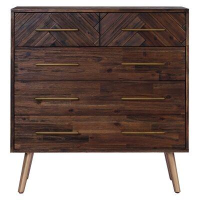 Sivan Commercial Grade Acacia Timber 5 Drawer Tallboy