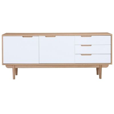 Nakula 2 Door 3 Drawer Sideboard, 180cm, Natural / White