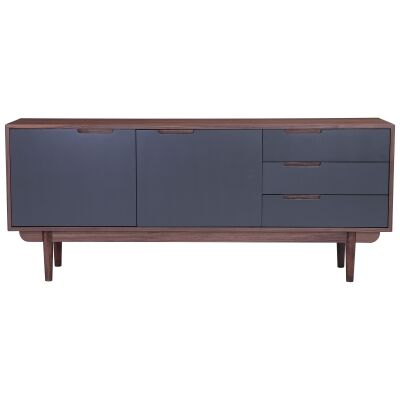 Nakula 2 Door 3 Drawer Sideboard, 180cm, Walnut / Gunmetal
