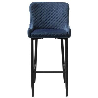 Danya Velvet Fabric Bar Stool, Blue
