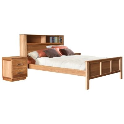Tara Elm Timber Bookcase Bed, King