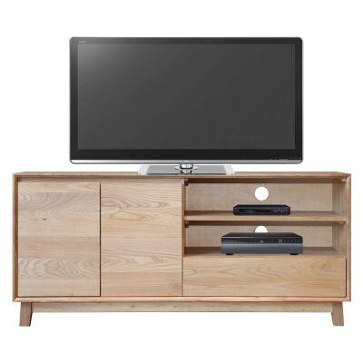 Summit Hardwood Timber 2 Door 1 Drawer TV Unit, 150cm, Light Oak