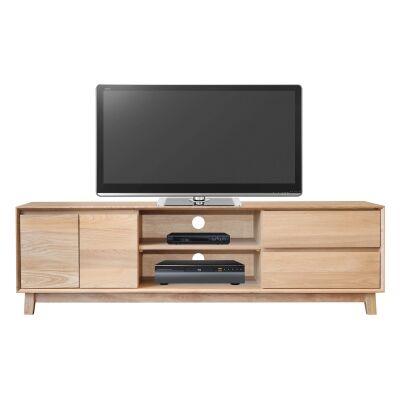 Summit Hardwood Timber 2 Door 2 Drawer TV Unit, 180cm, Light Oak