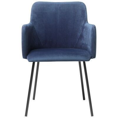 Desta Velvet Fabric Dining Armchair, Blue