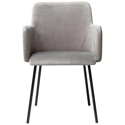 Desta Velvet Fabric Dining Armchair, Grey