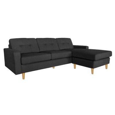 Lilly Fabric Corner Sofa, 2 Seater with Right Hand Facing Chaise, Black