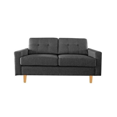 Lilly Fabric Sofa, 2 Seater, Black