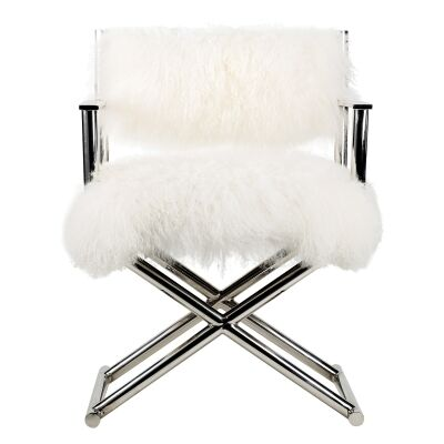 Lioyd Mongolian Fur and Metal Directors Chair