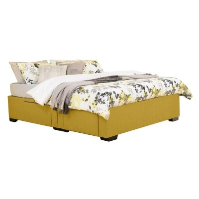 Leilani Australian Made Fabric 4 Drawer Split Bed Base, King Size, Chartreuse