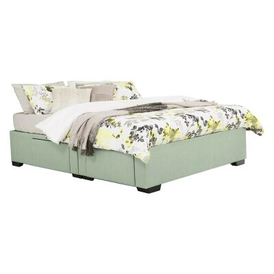 Leilani Australian Made Fabric 4 Drawer Split Bed Base, Queen Size, Duckegg