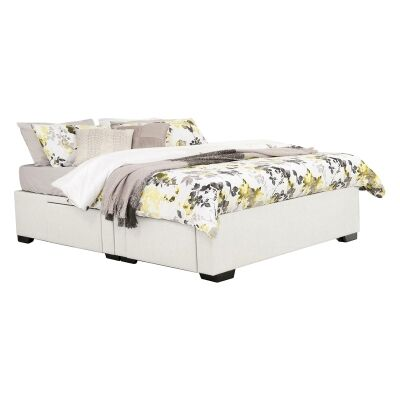 Leilani Australian Made Fabric 4 Drawer Split Bed Base, Queen Size, Ivory