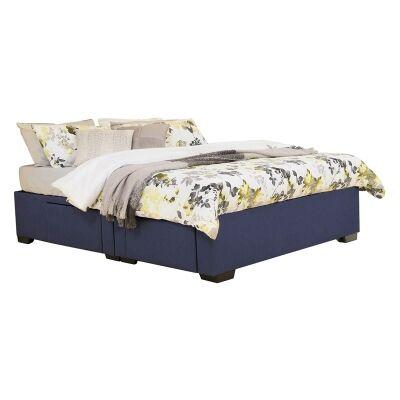 Leilani Australian Made Fabric 4 Drawer Split Bed Base, King Size, Navy