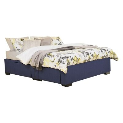 Leilani Australian Made Fabric 4 Drawer Split Bed Base, Queen Size, Navy
