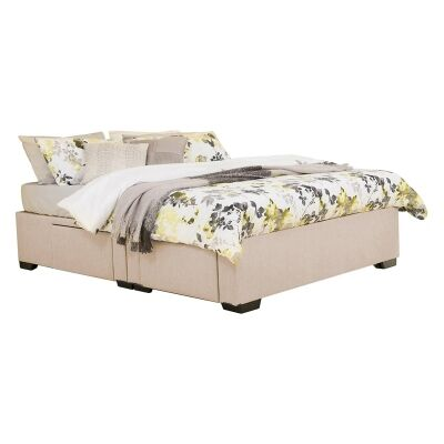 Leilani Australian Made Fabric 4 Drawer Split Bed Base, Queen Size, Shell