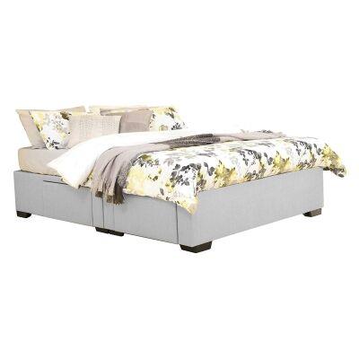 Leilani Australian Made Fabric 4 Drawer Split Bed Base, King Size, Smoke