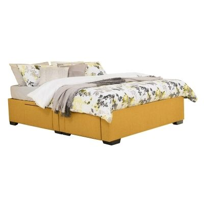 Leilani Australian Made Fabric 4 Drawer Split Bed Base, Queen Size, Buttercup