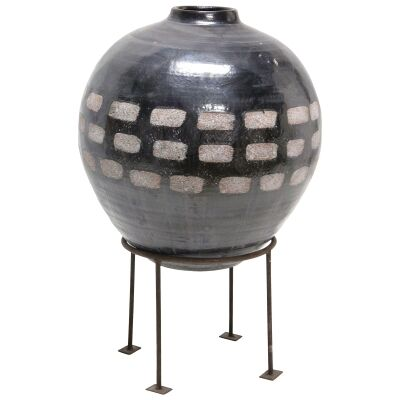 Dash Terracotta Vase On Metal Stand, Small