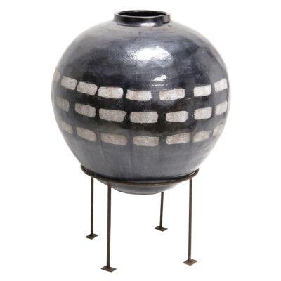 Dash Terracotta Vase On Metal Stand, Large