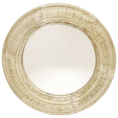 Liboria Mango Wood Frame Round Wall Mirror, 70cm