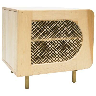 Modernista Cane & Poplar Timber Bedside Table