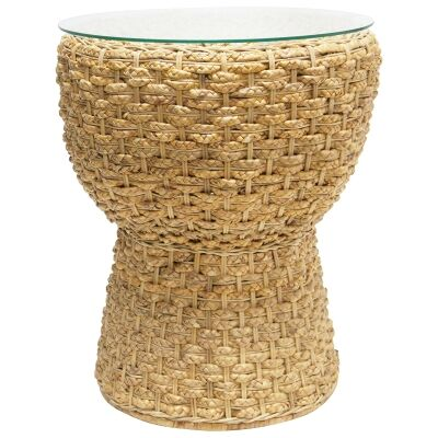Eceng Glass Topped Water Hyacinth Round Side Table