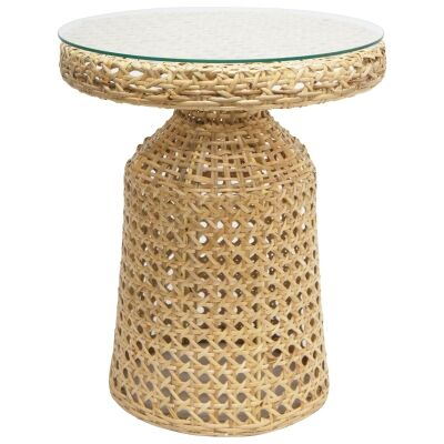 Tanjung Glass Topped Rattan Round Side Table